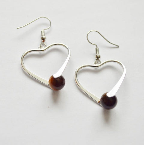 Tiger's Eye Healing Gemstone Earrings | Silver Plated | Heart