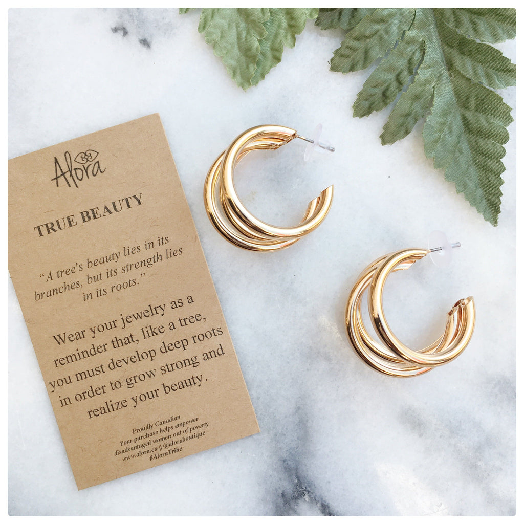 Jasmine -  Minimalist Triple Hoop Earrings