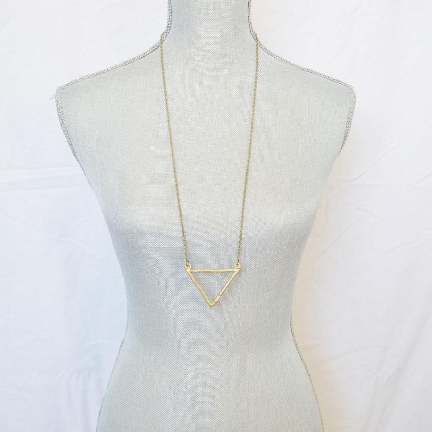 Resilience | Large Delta Pendant Necklace | Recycled Brass - Alora Boutique
