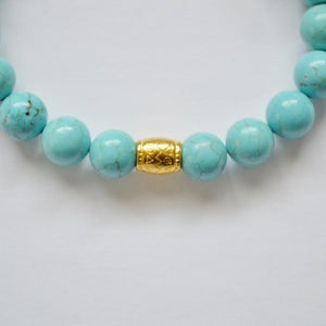 Wisdom, Loyalty and Protection | Beaded Stretch Bracelet | Turquoise Gemstone Bracelets Alora Solid Gold