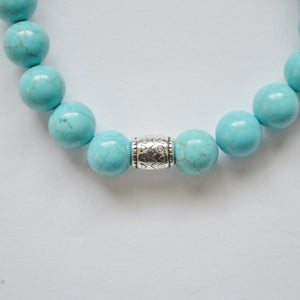 Wisdom, Loyalty and Protection | Beaded Stretch Bracelet | Turquoise Gemstone Bracelets Alora Solid Silver
