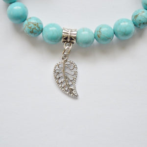 Wisdom, Loyalty and Protection | Beaded Stretch Bracelet | Turquoise Gemstone Bracelets Alora Silver Leaf