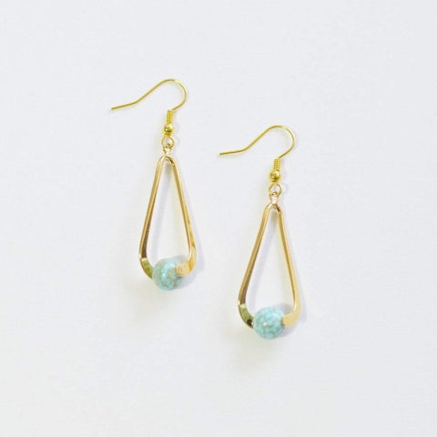 Turquoise Upward Spiral Gemstone Earrings | 14K Gold or Silver Plated - Alora Boutique  - 1