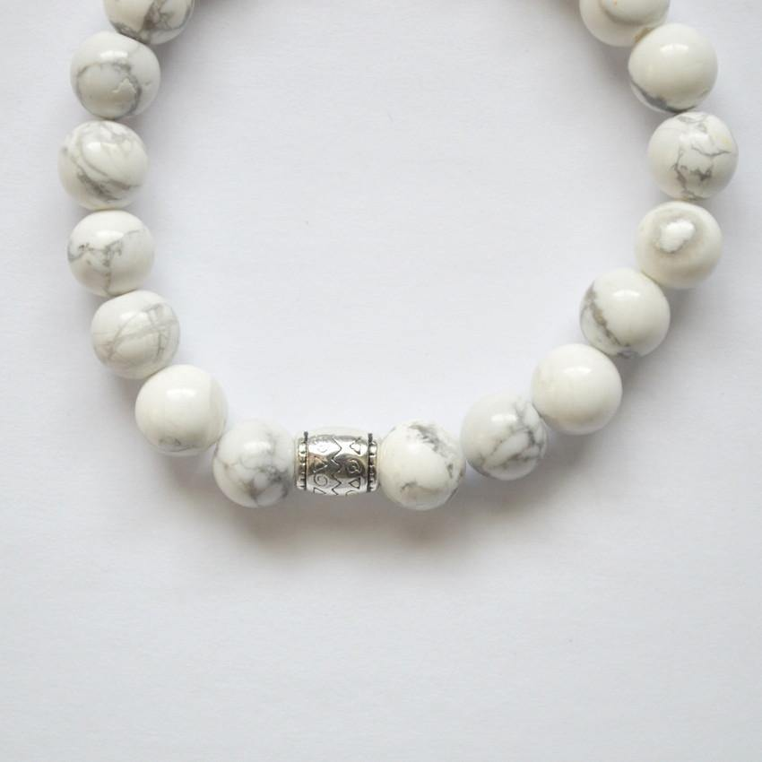 Howlite (White) Gemstone Stretch Bracelet - Healing Gems - Alora Boutique  - 6