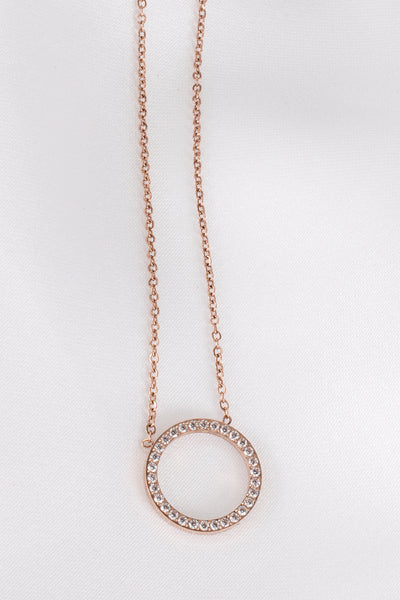 Glam Circle Rose Gold Necklace