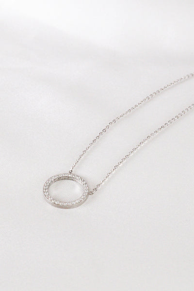 Glam Circle Silver Necklace