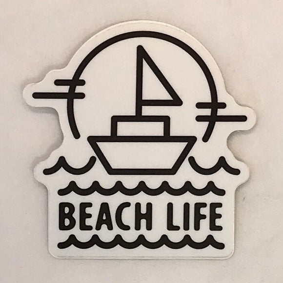 Beach Life Sailboat Sticker