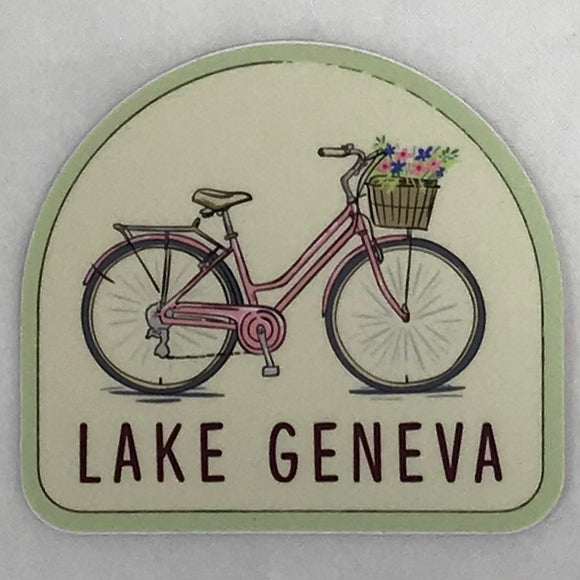 Bike with Flower Basket Sticker