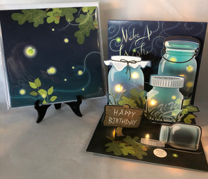 Lightning Bugs (lighted) Birthday Card