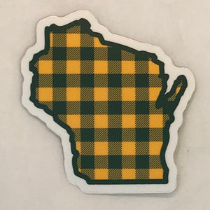 Wisconsin Green/Yellow Buffalo Plaid Sticker