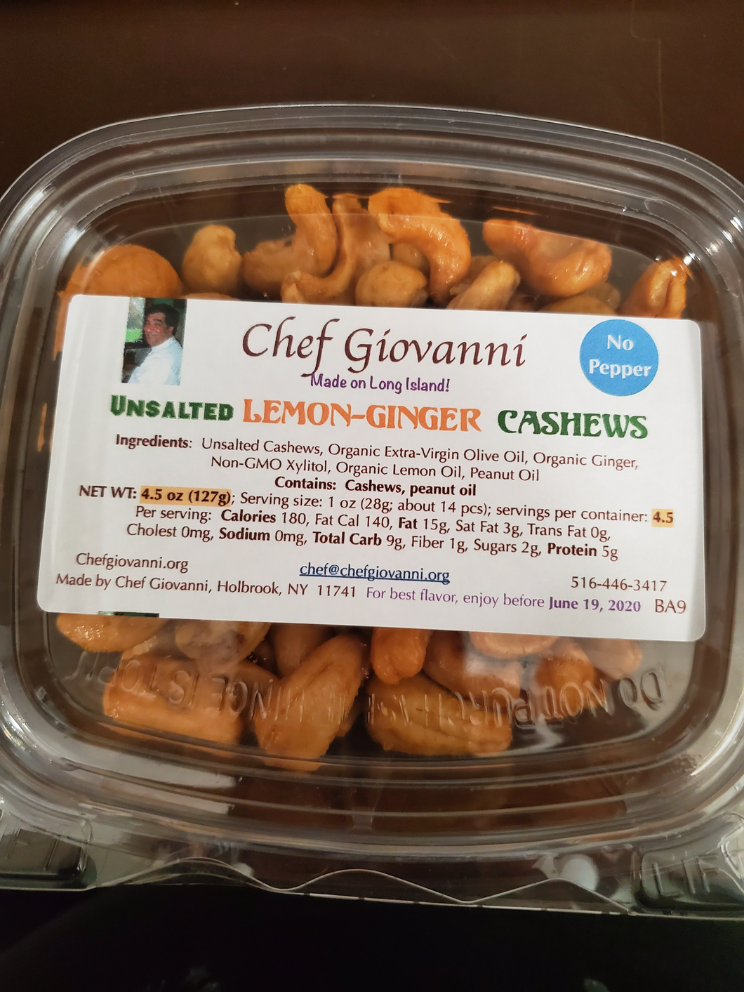 Chef Giovanni  --Unsalted Lemon Ginger Cashews