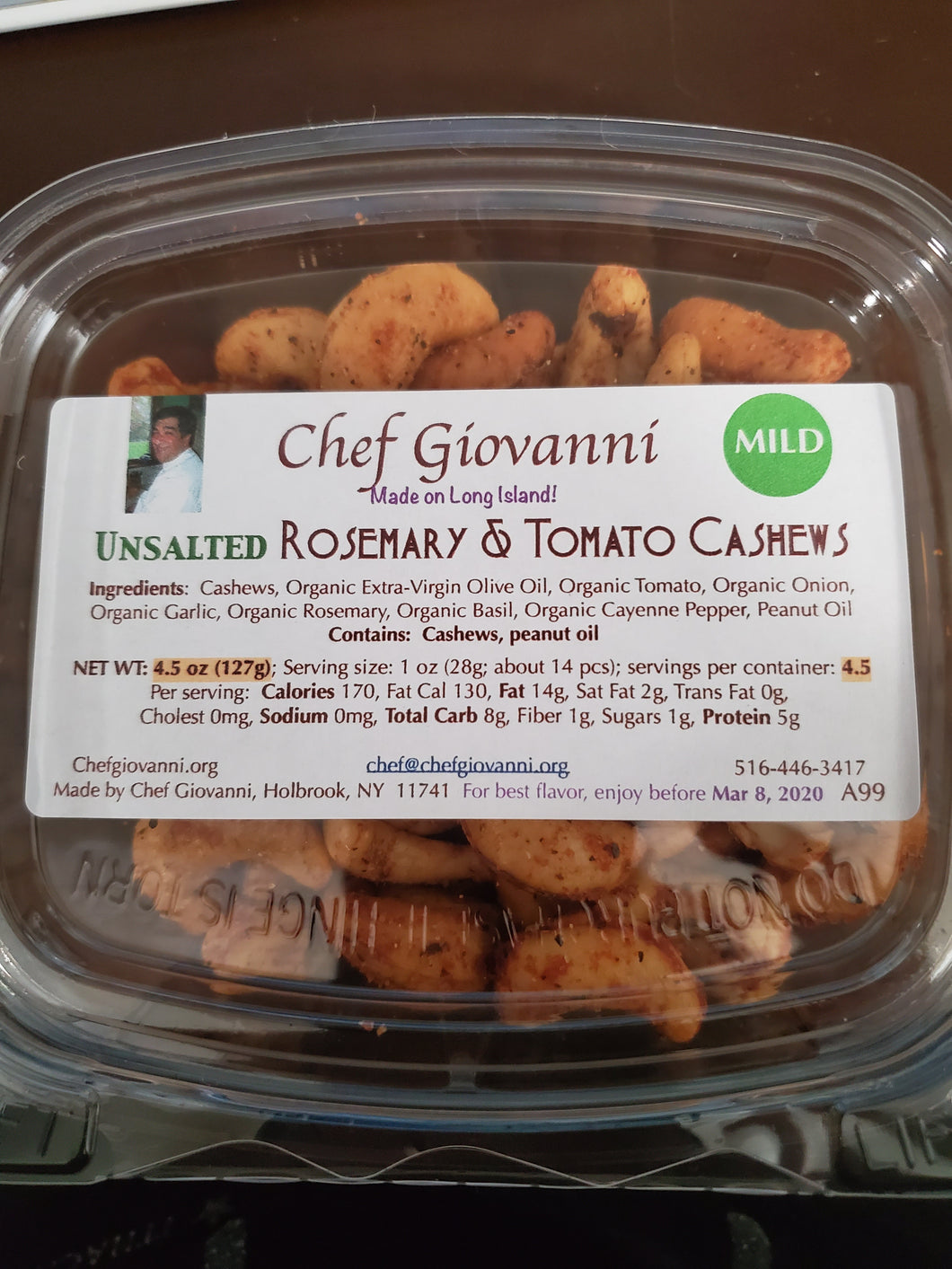 Chef Giovanni - Unsalted Rosemary & Tomato Cashews