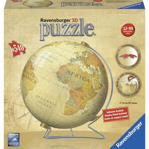 Ravensburger 540 Piece Puzzle - Vintage 3D World Globe