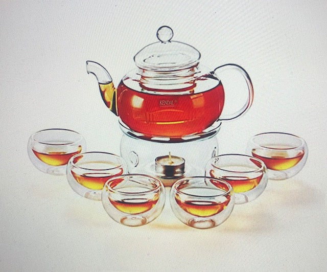 GLASS TEAPOT SET/ INFUSER/ WARMER/ CUPS