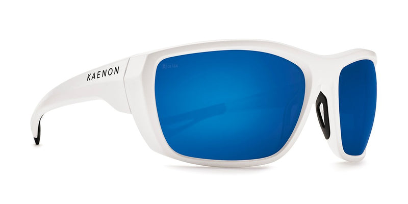 Kaenon Arcata Matte White with Ultra Polarized Blue Mirror Lens