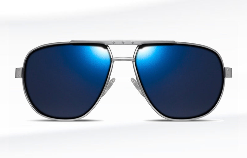 Dillon Cobra Matte Silver with Polarized Blue NIR lens