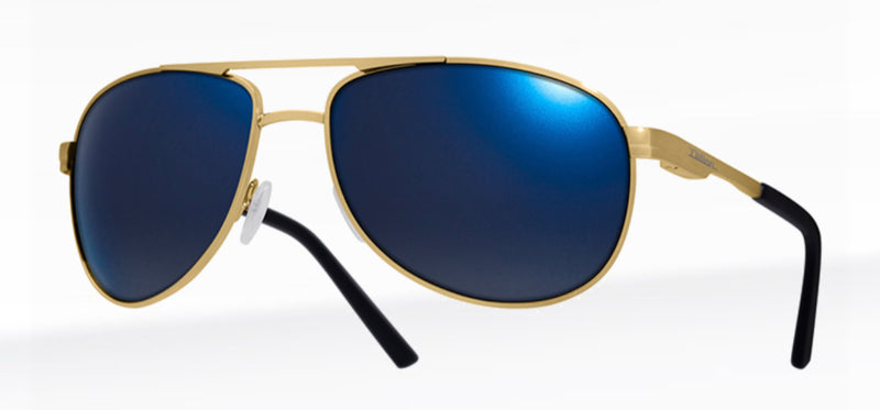 Dillon Greasewood Shiny Gold with Polarized Blue NIR Lens