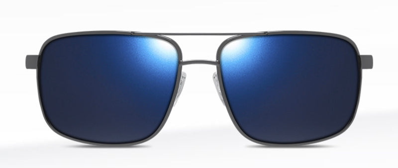 Dillon George Shiny Gunmetal with Polarized Blue NIR Lens