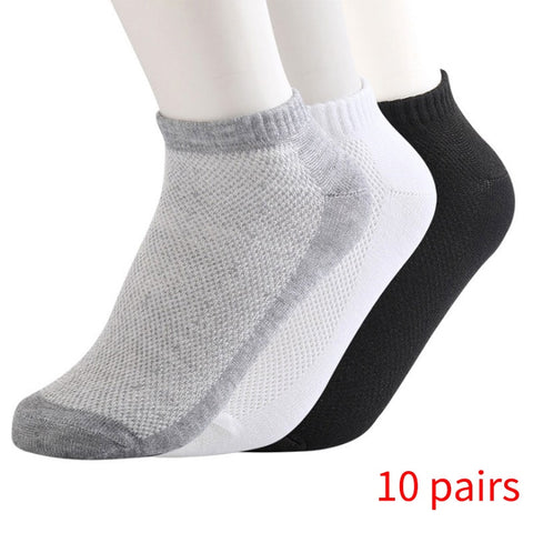 10 Pairs of ECMLN Breathable Men's Short Ankle Socks Men