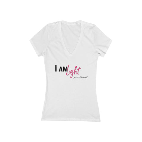 I am Light - Women's Jersey Short Sleeve Deep V-Neck Tee
