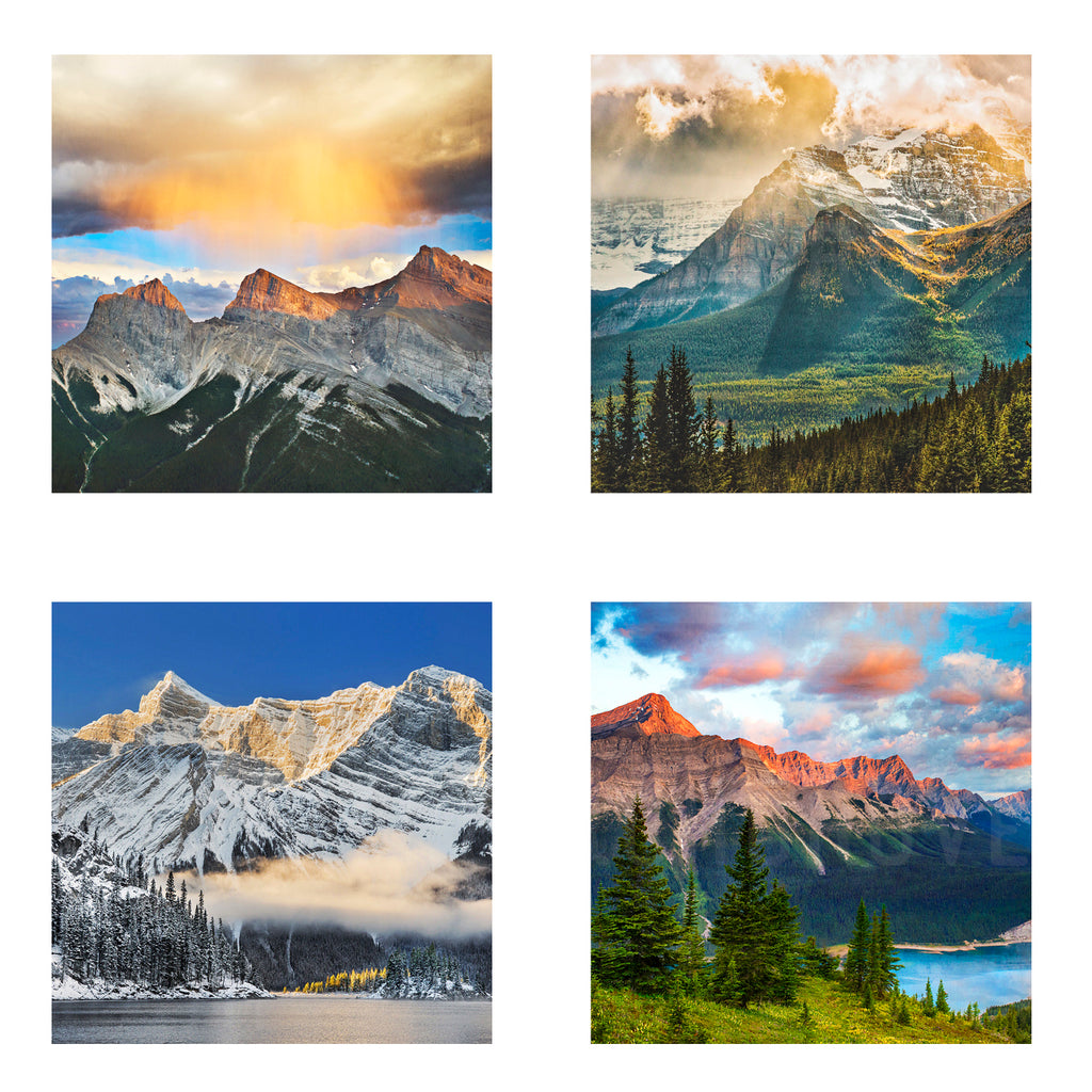 Metallic Mini Magnet Set of 4 <br> Canadian Rockies