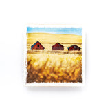 "Three Red Barns in Saskatchewan Winter <br>Birch Wood Photo Coaster <br> 4x4"" Matte Finish"