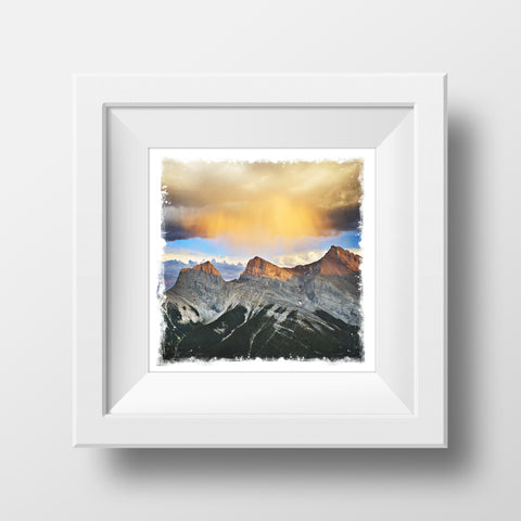 "CLEARANCE 5x5"" Fine Art Print <br>3 Sisters Mountains at Sunset Canadian Rockies<br> Metallic Finish"