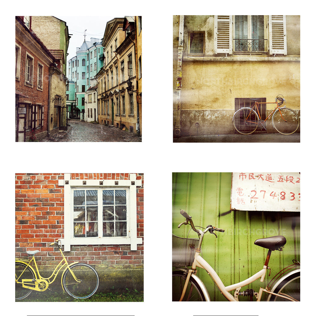 Metallic Mini Magnet Set of 4 <br> Bicycles + Cobblestone Streets