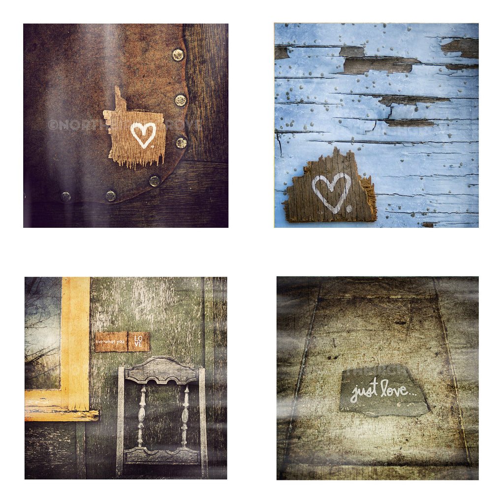Metallic Mini Magnet Set of 4 <br>Rustic Love + Hearts No. 2