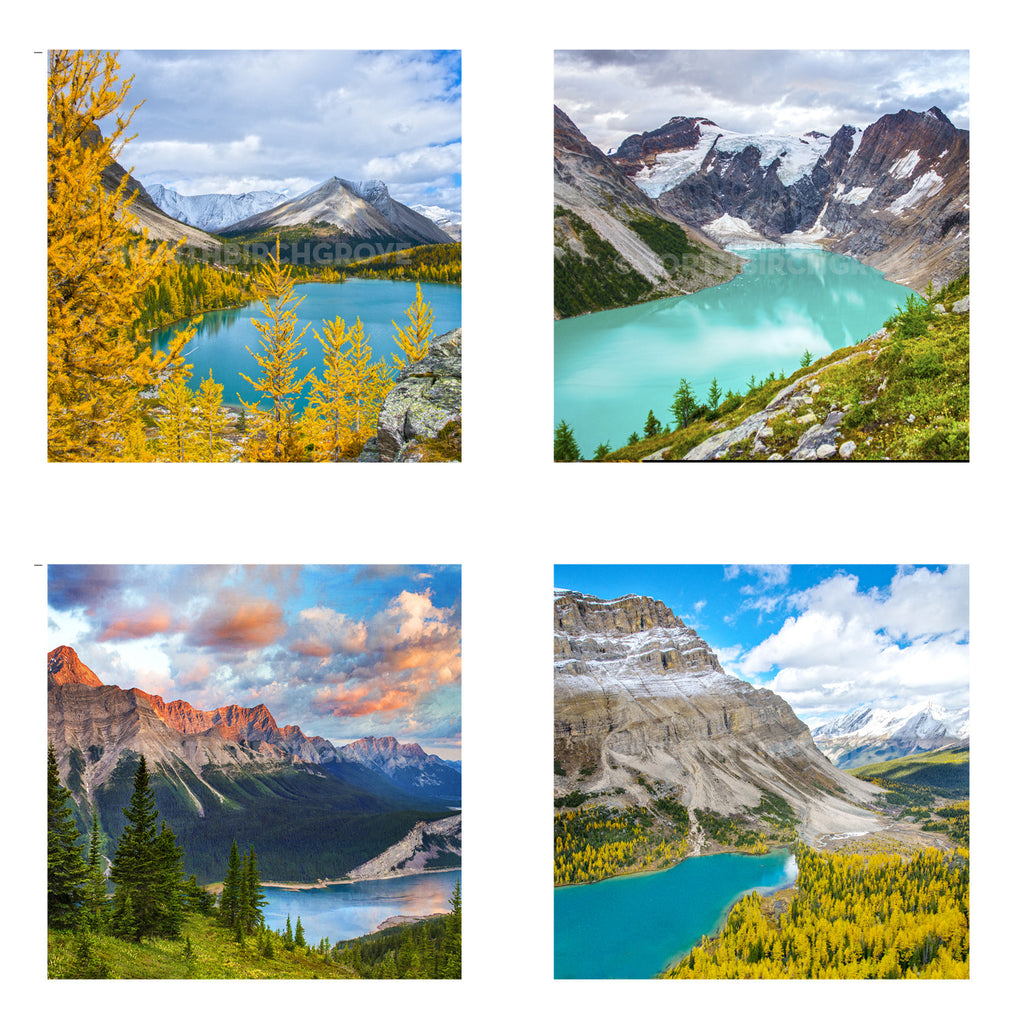 Metallic Mini Magnet Set of 4 <br> Canadian Mountains No. 3