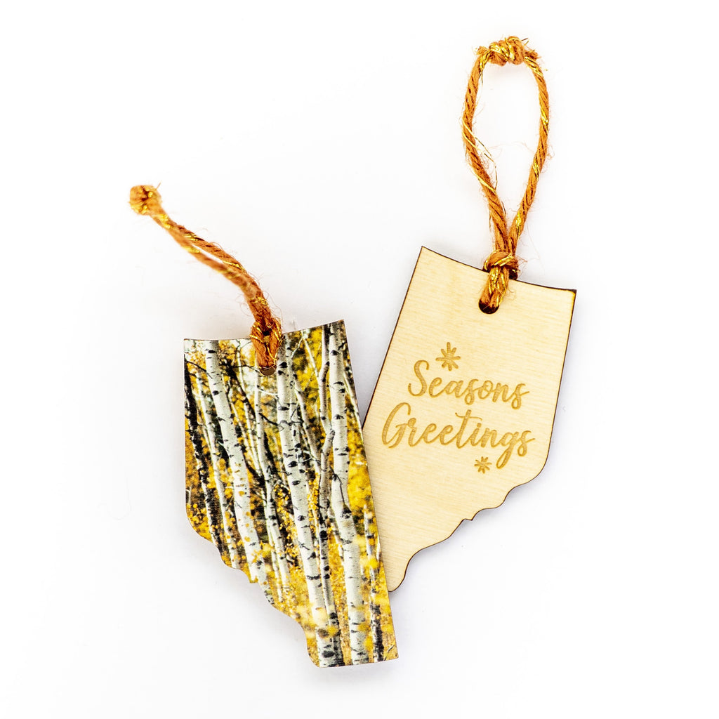Alberta Wooden Holiday Ornament <br> Seasons Greetings <br>Aspens in Autumn