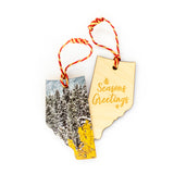 Alberta Wooden Holiday Ornament <br> Seasons Greetings <br>Snowy Aspens