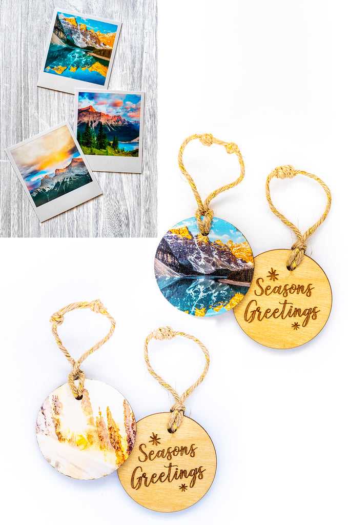 DAY 12! <br>3-Pack of Metallic Polaroid Magnets and 2 Holiday Ornaments <br> Canadian Rockies