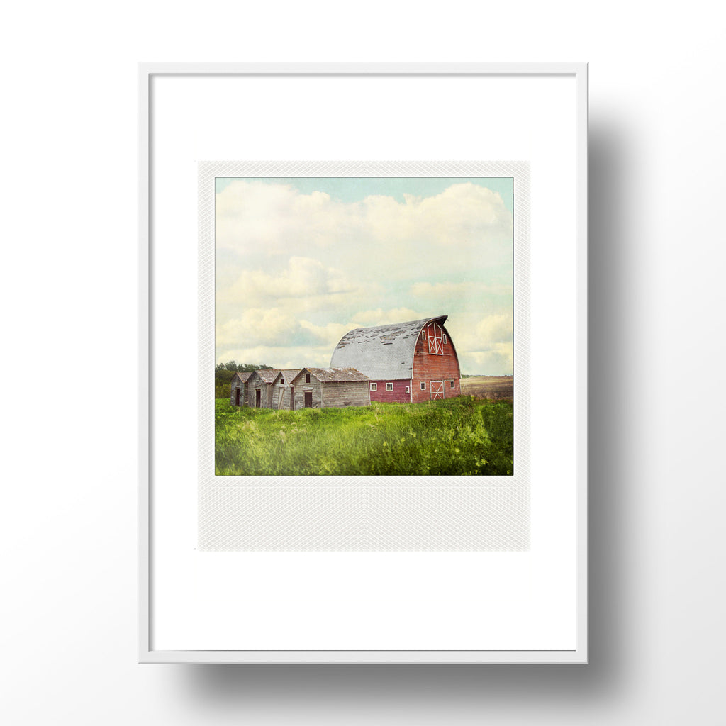 CLEARANCE <br>Metallic Polaroid Magnet <br> Red Prairie Barn + Sky
