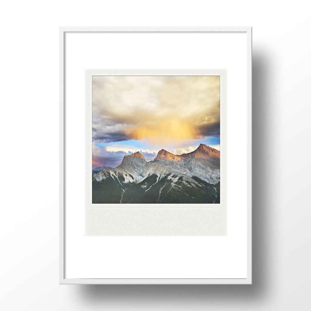 Metallic Polaroid Magnet <br> 3-Sisters Mountains Canmore
