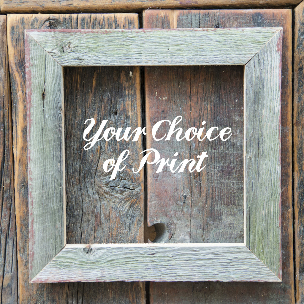 "SALE<br> Salvaged Wood Frame<br>Choice of w or w/out a 8"" Print"