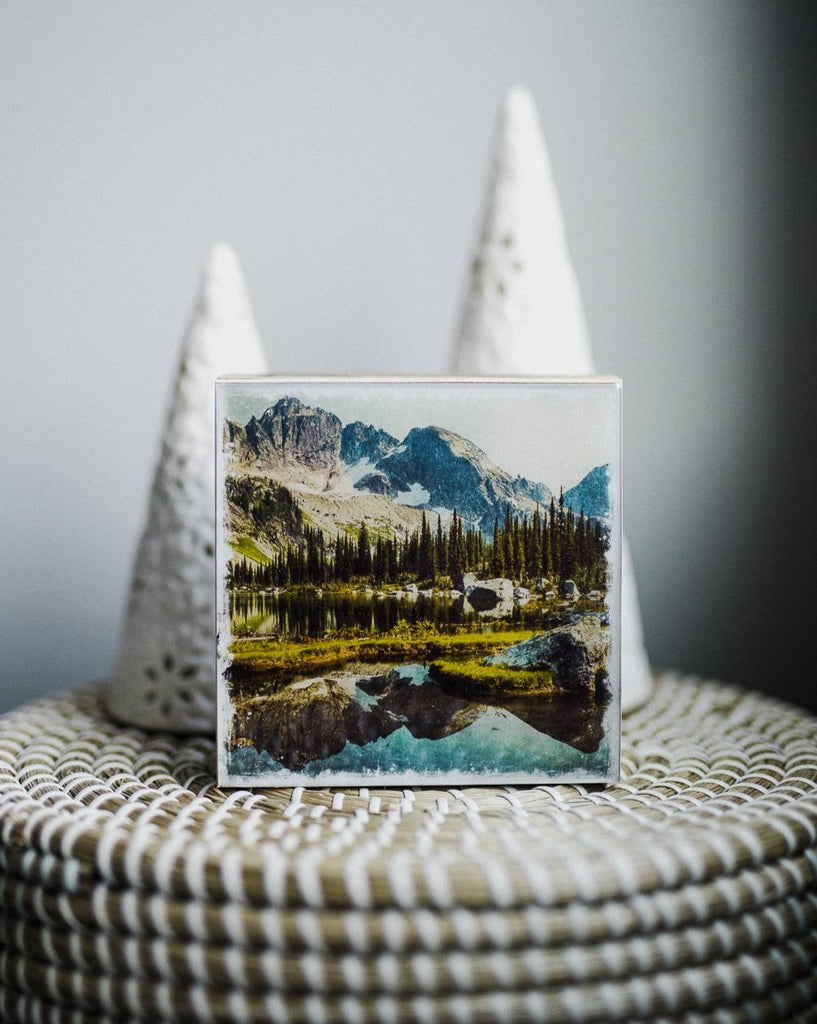 "Alpine Lake & Reflections<br> 5x5"" Signature Glossy Art Block  <br> New Pine Wood Edges"