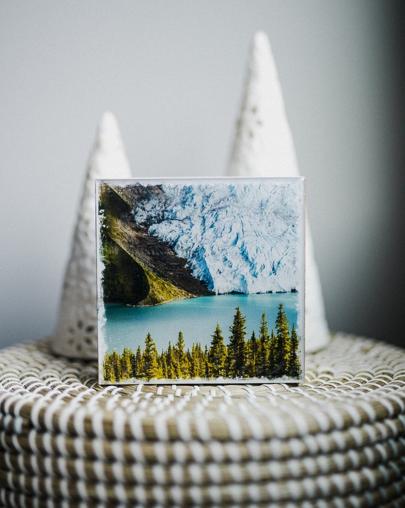 "Berg Lake Mount Robson<br> 5x5"" Signature Glossy Art Block  <br> New Pine Wood Edges"