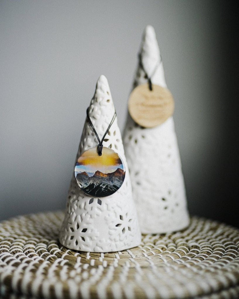 Glossy Metallic Circle Wooden Holiday Ornament <br> Canmore Alberta <br> Three Sisters Mountains