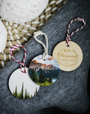 2 Pack of Holiday Ornaments <br> Canmore Alberta Engraving <br> Birch Wood with Direct Print