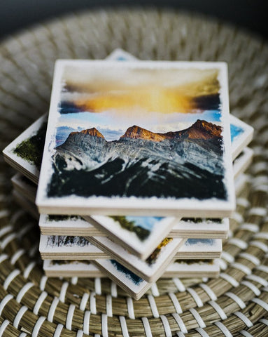 "Three Sisters Mountains <br>Birch Wood Photo Coaster <br> 4x4"" Matte Finish"