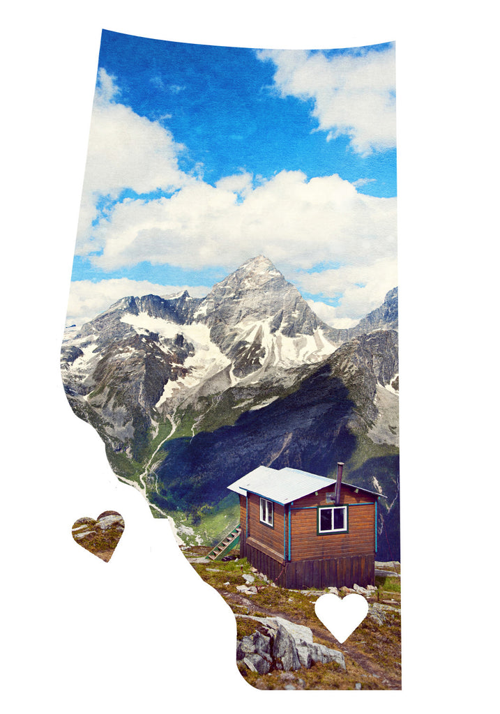 Alberta Love Magnet <br> Cabin + Mountains