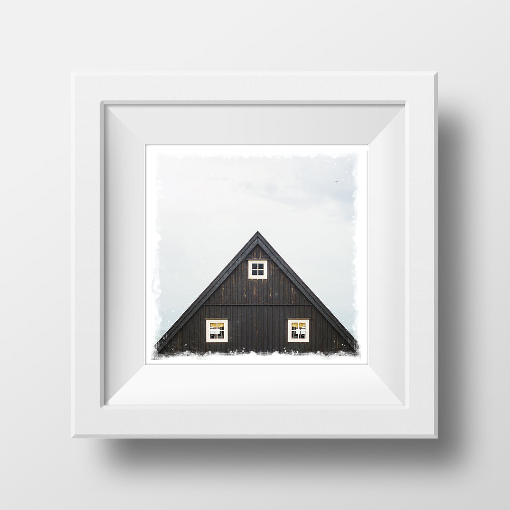 "SALE 5x5"" Fine Art Print <br>A-Frame Cabin in Iceland<br> Metallic Finish"