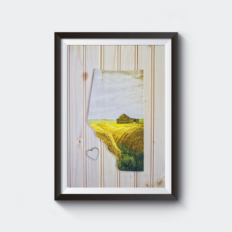 Alberta Province<br>Summer Skies with Moveable Heart<br> Photo on Birch Wood Panel<br>