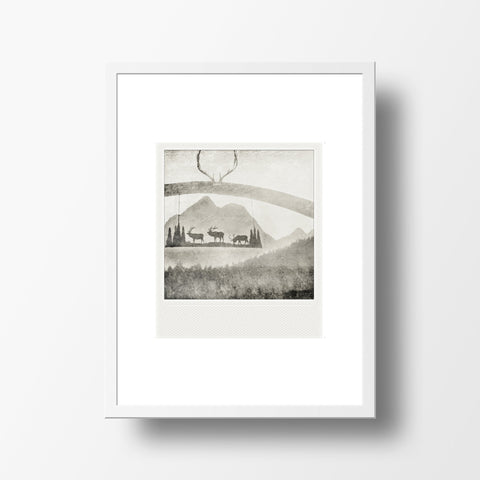 SALE<br> Metallic Polaroid Magnet <br>Ranch Post + Mountains