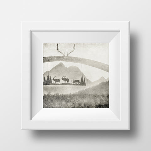 "CLEARANCE 8x8"" Print<br>Ranch Post + Mountains<br> Matte Finish"