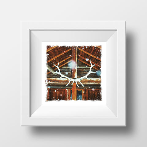 "CLEARANCE 5x5"" Fine Art Print <br>Backcountry Lodge Banff National Park Canada<br> Metallic Finish"