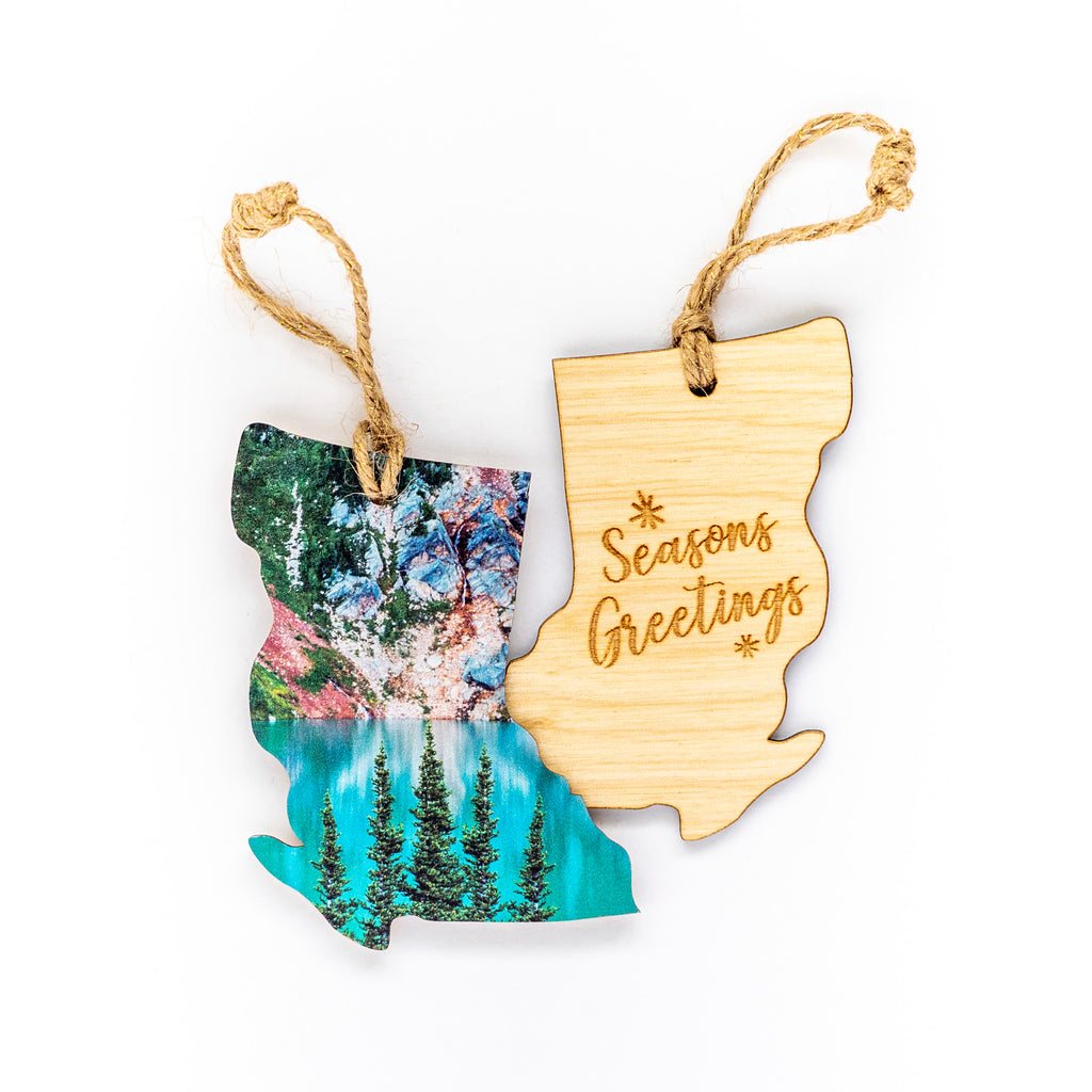 British Columbia Wooden Holiday Ornament <br> Seasons Greetings <br> Glacial Lake