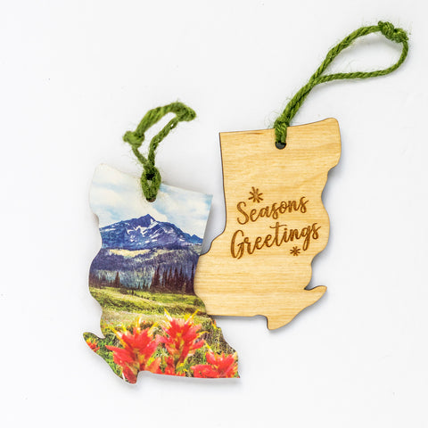 British Columbia Wooden Holiday Ornament <br> Seasons Greetings <br> Wildflowers in Summer
