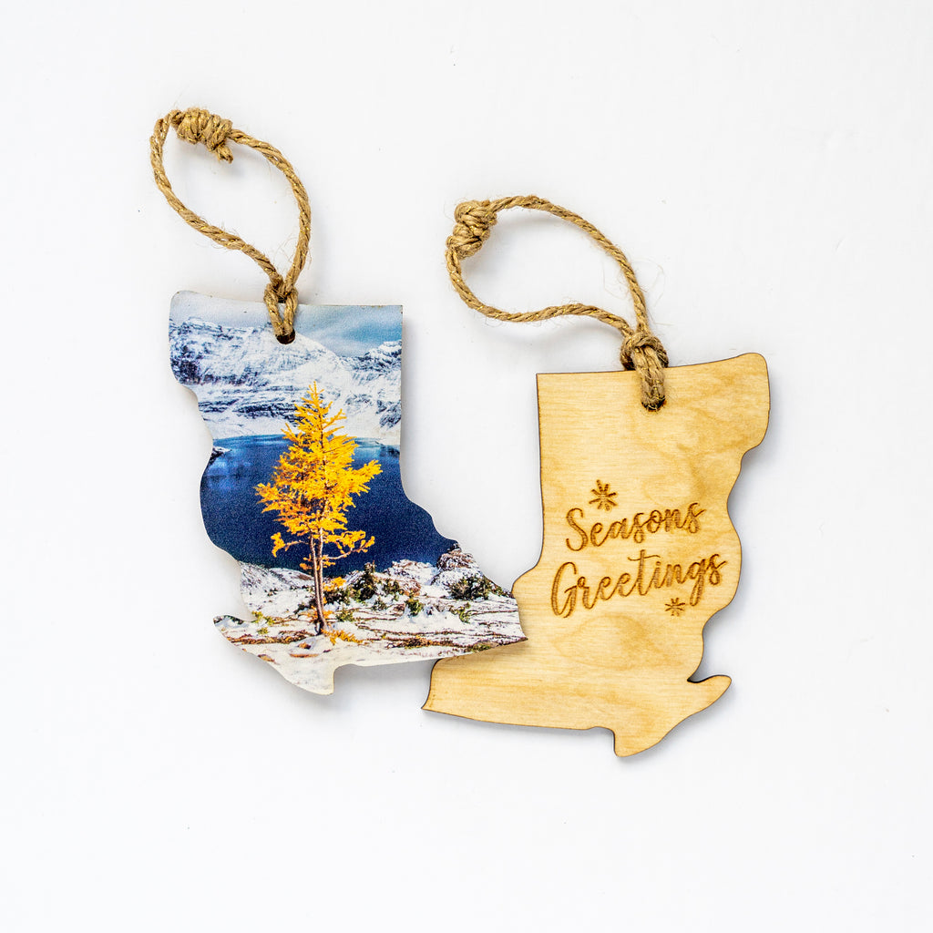 British Columbia Wooden Holiday Ornament <br> Seasons Greetings <br>Golden Larch & Fresh Snow